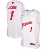 Men's Detroit Pistons #1 Reggie Jackson White 2016-2017 Christmas Day NBA Swingman Jersey