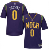 Men's New Orleans Pelicans #0 DeMarcus Cousins adidas Purple Pride Swingman Mardi Gras Jersey