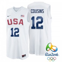 Men's Nike Rio 2016 Olympics USA Dream Team #12 DeMarcus Cousins White Basketball Jersey