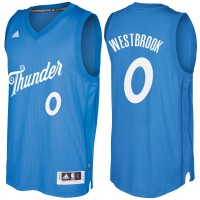 Men's Oklahoma City Thunder #0 Russell Westbrook Blue 2016-2017 Christmas Day NBA Swingman Jersey