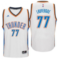 Men's Oklahoma City Thunder #77 Joffrey Lauvergne adidas White New Swingman Home Jersey