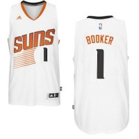 Men's Phoenix Suns #1 Devin Booker adidas White Swingman Home Jersey