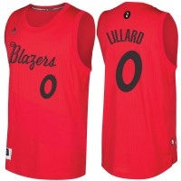 Men's Portland Trail Blazers #0 Damian Lillard adidas Red 2016-2017 Christmas Day NBA Swingman Jersey