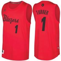 Men's Portland Trail Blazers #1 Evan Turner Red 2016-2017 Christmas Day NBA Swingman Jersey