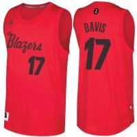 Men's Portland Trail Blazers #17 Ed Davis 2016-2017 Christmas Day Red NBA Swingman Jersey
