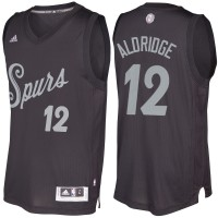 Men's San Antonio Spurs #12 LaMarcus Aldridge Black 2016-2017 Christmas Day NBA Swingman Jersey