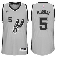 Men's San Antonio Spurs #5 Dejounte Murray adidas Gray Player Swingman Jersey