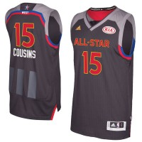 2017 All-Star Western Conference Sacramento Kings #15 DeMarcus Cousins Charcoal Stitched NBA Jersey