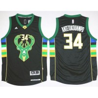 Milwaukee Bucks #34 Giannis Antetokounmpo Black Alternate Stitched NBA Jersey