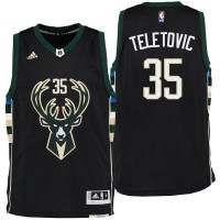 Milwaukee Bucks #35 Mirza Teletovic Alternate Black New Swingman Jersey