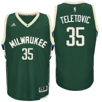 Milwaukee Bucks #35 Mirza Teletovic Road Green New Swingman Jersey