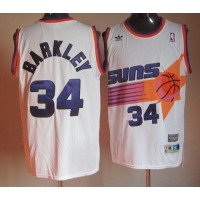 Mitchell & Ness Suns #34 Charles Barkley Stitched White Throwback NBA Jersey