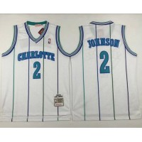 Mitchell And Ness Hornets #2 Larry Johnson White Throwback Stitched NBA Jersey