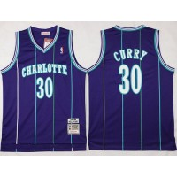 Mitchell And Ness Hornets #30 Dell Curry Purple Throwback Stitched NBA Jersey