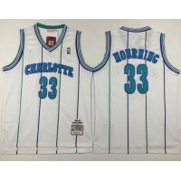 Mitchell And Ness Hornets #33 Alonzo Mourning White Throwback Stitched NBA Jersey