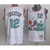 Mitchell And Ness Jazz #12 John Stockton White 1996 All star Stitched NBA Jersey