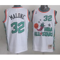 Mitchell And Ness Jazz #32 Karl Malone White 1996 All star Stitched NBA Jersey