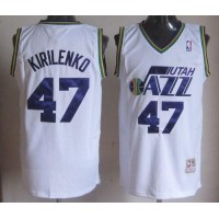 Mitchell And Ness Jazz #47 Andrei Kirilenko White Throwback Stitched NBA Jersey