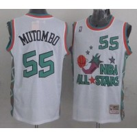 Mitchell And Ness Nuggets #55 Dikembe Mutombo White 1996 All star Stitched NBA Jersey