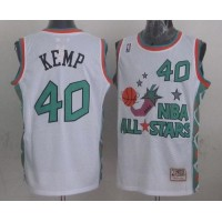 Mitchell And Ness Thunder #40 Shawn Kemp White 1996 All star Stitched NBA Jersey