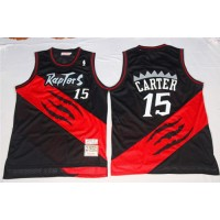 Mitchell And Ness Toronto Raptors #15 Vince Carter Black Red Throwback Stitched NBA Jersey