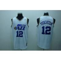 Mitchell and Ness Jazz #12 John Stockton Stitched White Throwback NBA Jersey