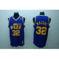 Mitchell and Ness Jazz #32 Karl Malone Stitched Blue Throwback NBA Jersey