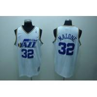 Mitchell and Ness Jazz #32 Karl Malone Stitched White Throwback NBA Jersey