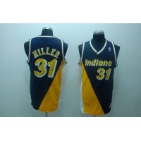 Mitchell and Ness Pacers #31 Reggie Miller Stitched Black&Yellow Throwback NBA Jersey