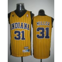 Mitchell and Ness Pacers #31 Reggie Miller Yellow Stitched Throwback NBA Jersey
