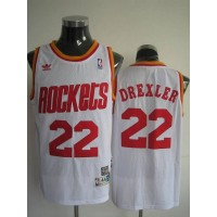 Mitchell and Ness Rockets #22 Clyde Drexler Stitched White Throwback NBA Jersey