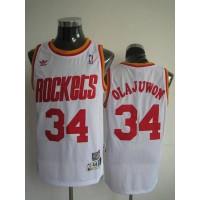 Mitchell and Ness Rockets #34 Hakeem Olajuwon Stitched White Throwback NBA Jersey