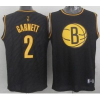 Nets #2 Kevin Garnett Black Precious Metals Fashion Stitched NBA Jersey