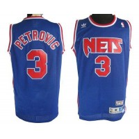 Nets #3 Drazen Petrovic Blue Stitched Throwback NBA Jersey