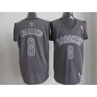 Nets #8 Deron Williams Grey Big Color Fashion Stitched NBA Jersey