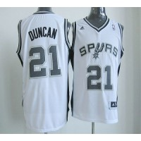 New Revolution 30 Spurs #21 Tim Duncan White Stitched NBA Jersey