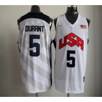 Nike 2012 Olympics Team USA #5 Kevin Durant White Stitched NBA Jersey