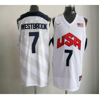 Nike 2012 Olympics Team USA #7 Russell Westbrook White Stitched NBA Jersey