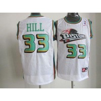 Nike Pistons #33 Hill White Throwback Stitched NBA Jersey