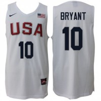 Nike Rio 2016 Olympics USA Dream Team #10 Kobe Bryant Home White Commemorate Basketball Jersey