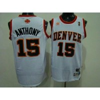 Nuggets #15 Carmelo Anthony White Swingman Throwback Stitched NBA Jersey