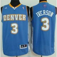 Nuggets #3 Allen Iverson Light Blue Stitched NBA Jersey