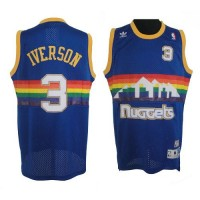 Nuggets #3 Allen Iverson Light Blue Throwback Stitched NBA Jersey