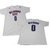 Oklahoma City Thunder #0 Russell Westbrook White NBA T-Shirts