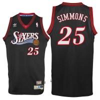 Philadelphia 76ers #25 Ben Simmons Black Throwback Swingman Jersey