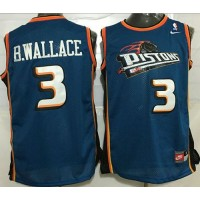 Pistons #3 Ben Wallace Blue Throwback Stitched NBA Jersey
