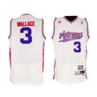 Pistons #3 Ben Wallace White Throwback Stitched NBA Jersey