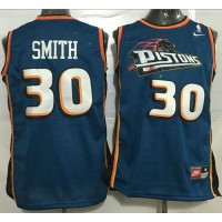 Pistons #30 Joe Smith Blue Throwback Stitched NBA Jersey