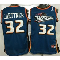 Pistons #32 Christian Laettner Blue Throwback Stitched NBA Jersey