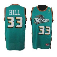 Pistons #33 Hill Green Throwback Stitched NBA Jersey